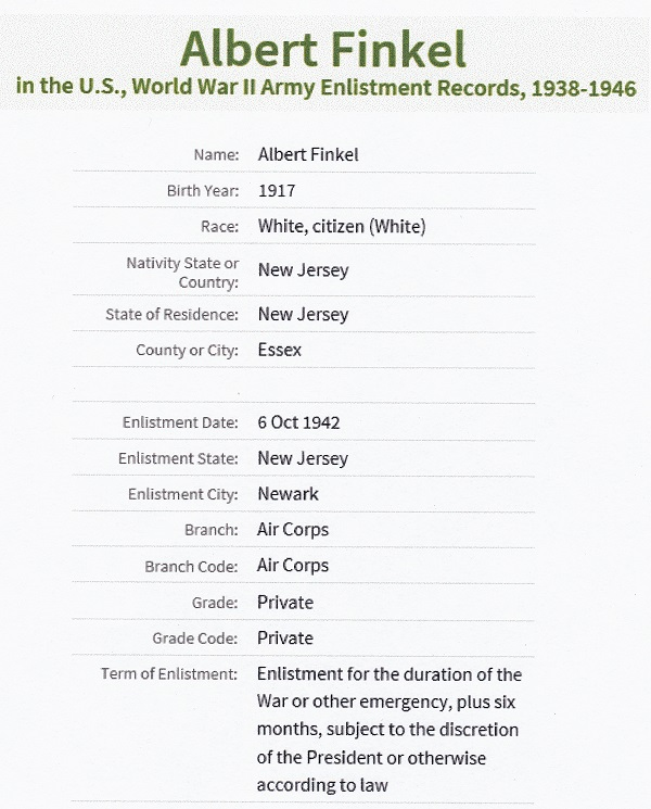 Albert Finkel's World War II Enlistment Record