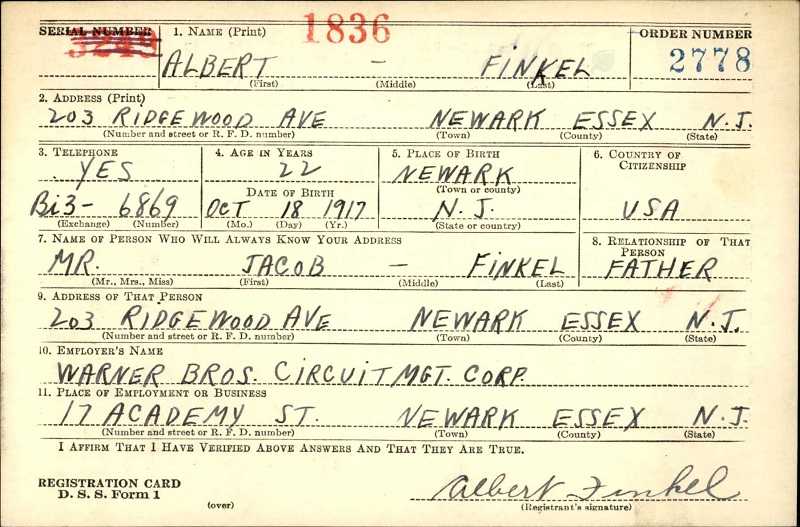 Albert Finkel's World War II Draft Registration
