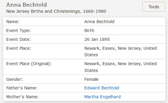 Anna C. Bechtold Birth Index