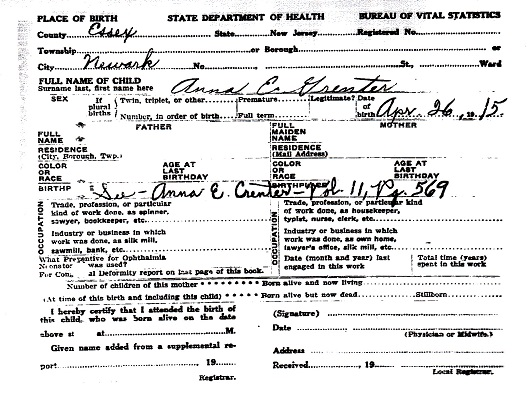 Anna Erna Greuter Birth Certificate Amendment