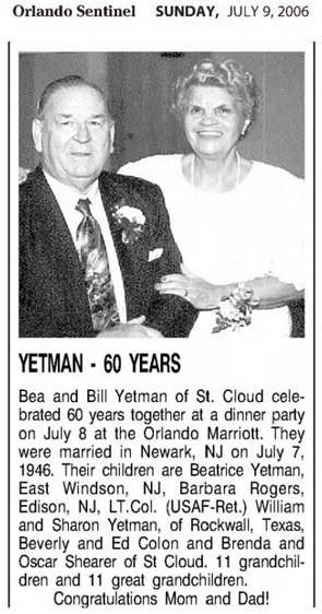 Beatrice Rears and William Yetman Marriage Record