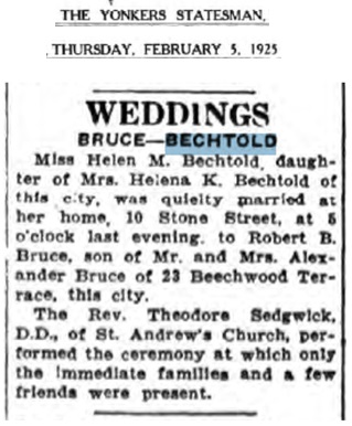 Helen Bechtold and Robert Bruce Marriage Record