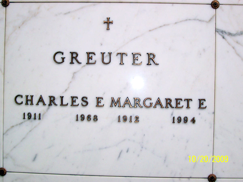Interment for Charles and Margaret Greuter in Gate of Heaven Cemetery