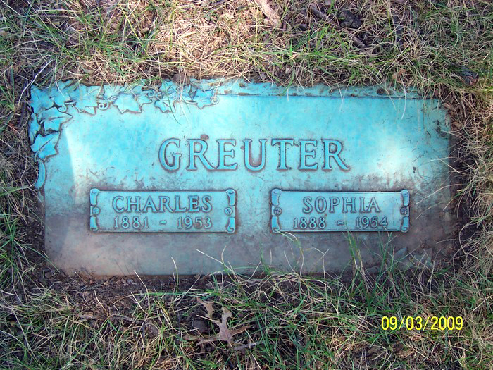 The Hollywood Memorial Park Cemetery Grave Marker of Charles and Sophie Greuter