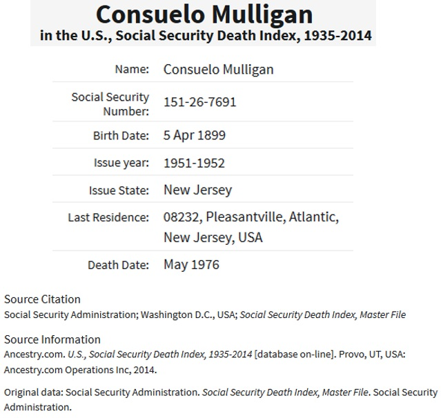 Consuelo Dumont Mulligan Social Security Death Index