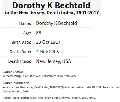 Dorothy Haight Bechtold Death Index