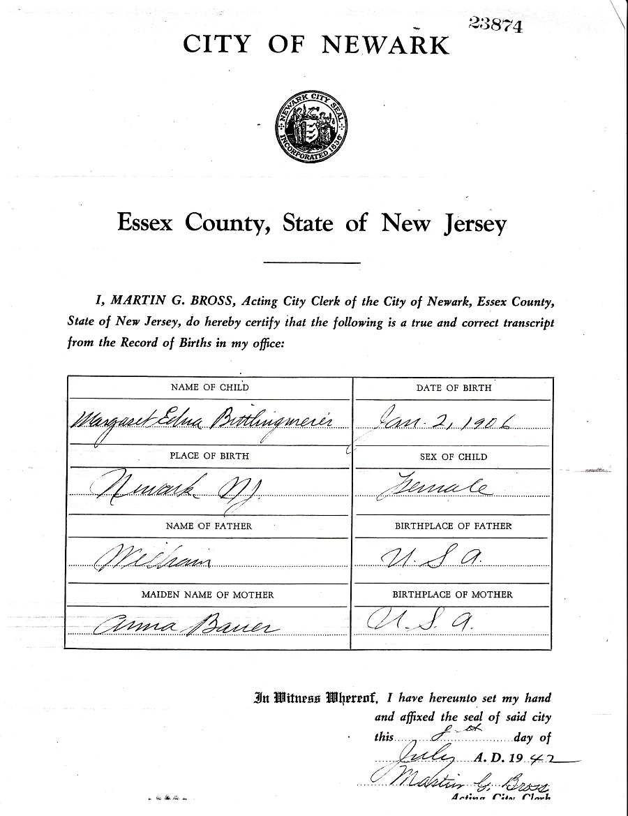 Edna Margaret Bittlingmeier Birth Certificate Amendment