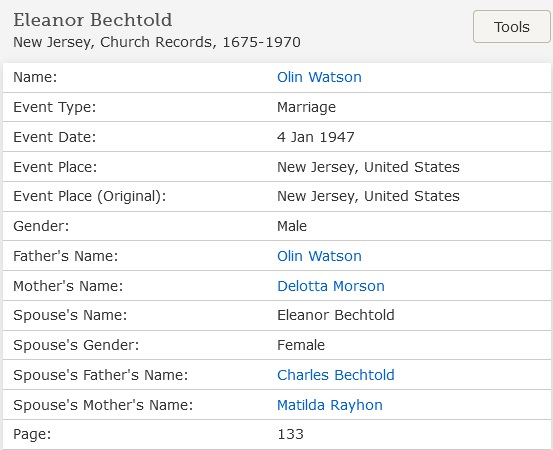 Eleanor Bechtold and Olin Watson Marriage Index