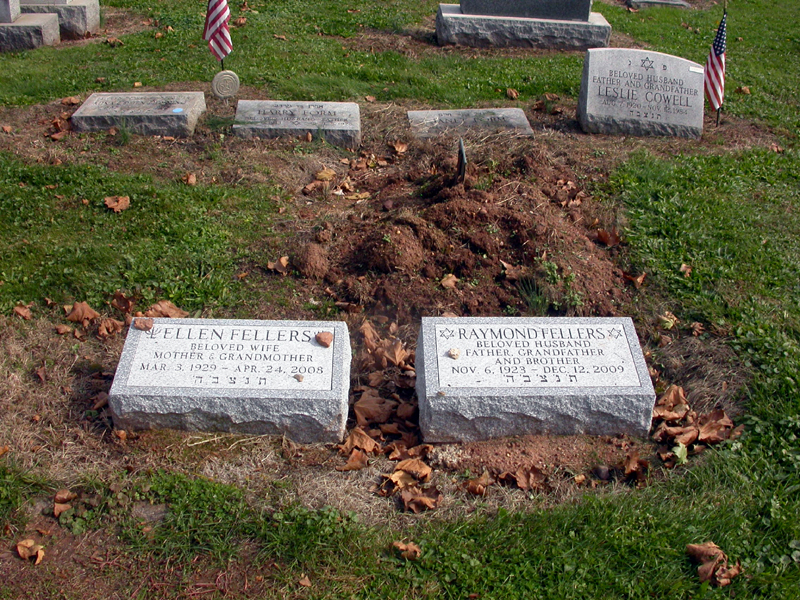 The Mount Lebanon Cemetery Grave markers of Ellen and Raymond Fellers