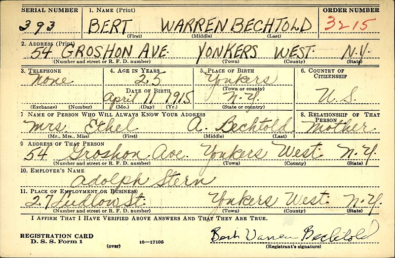 Ethelbert W. Bechtold's World War II Draft Registration Card Part 1