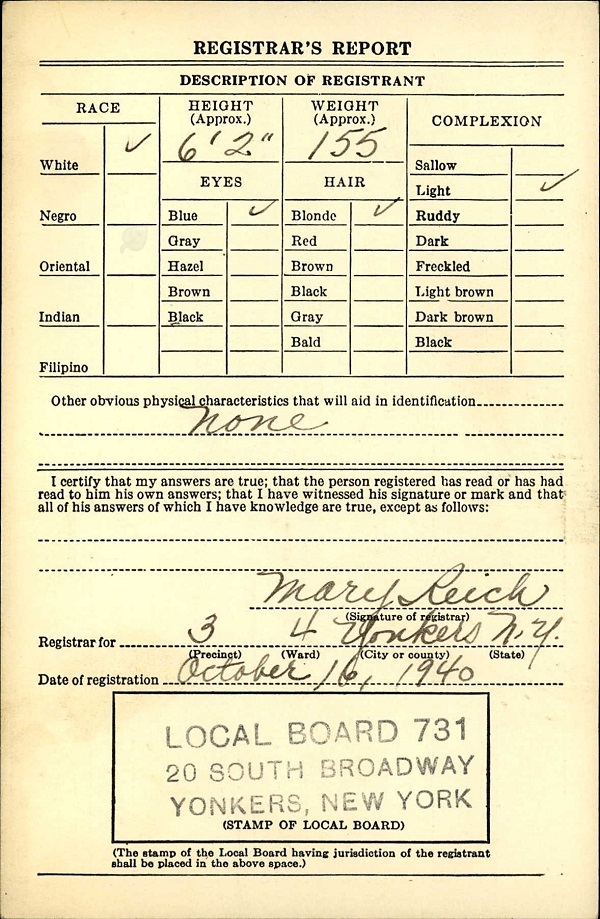 Ethelbert W. Bechtold's World War II Draft Registration Card Part 2