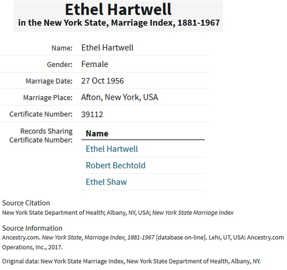 Robert Bechtold and Ethel May McCulley Marriage Index