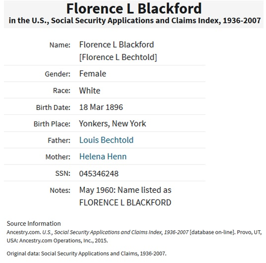 Florence Bechtold Blackford Social Security Death Index