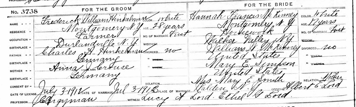 Hannah Frances McKinney Marriage Record