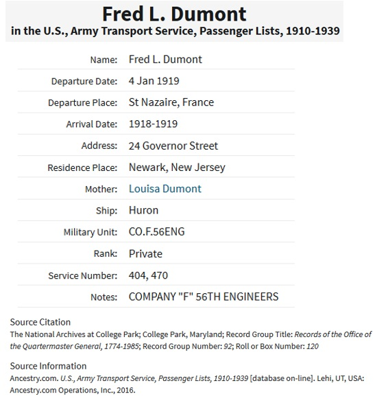 Fred Dumont Military Record