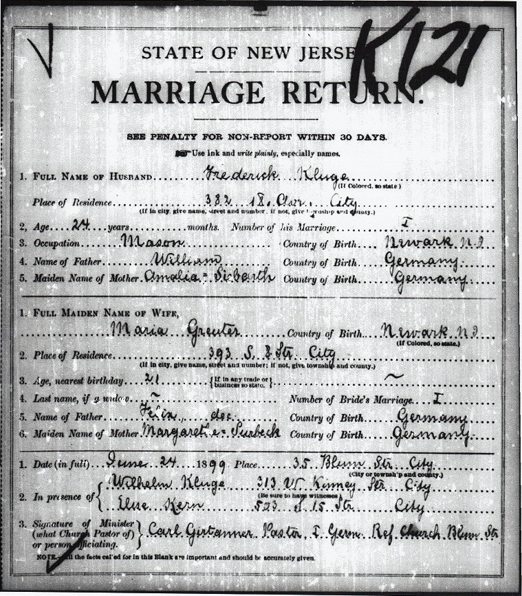 Maria Greuter and Frederick Kluge Marriage Certificate