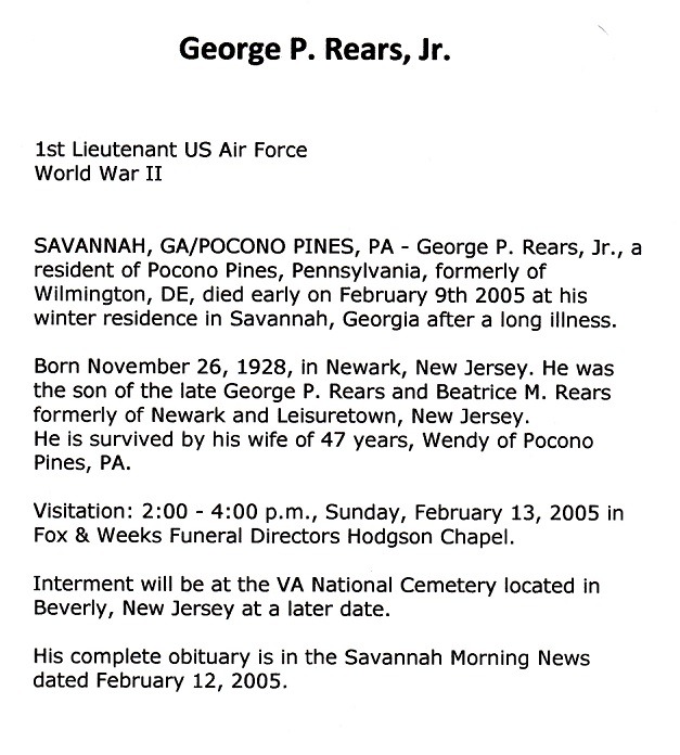 George P. Rears, Jr. Obituary