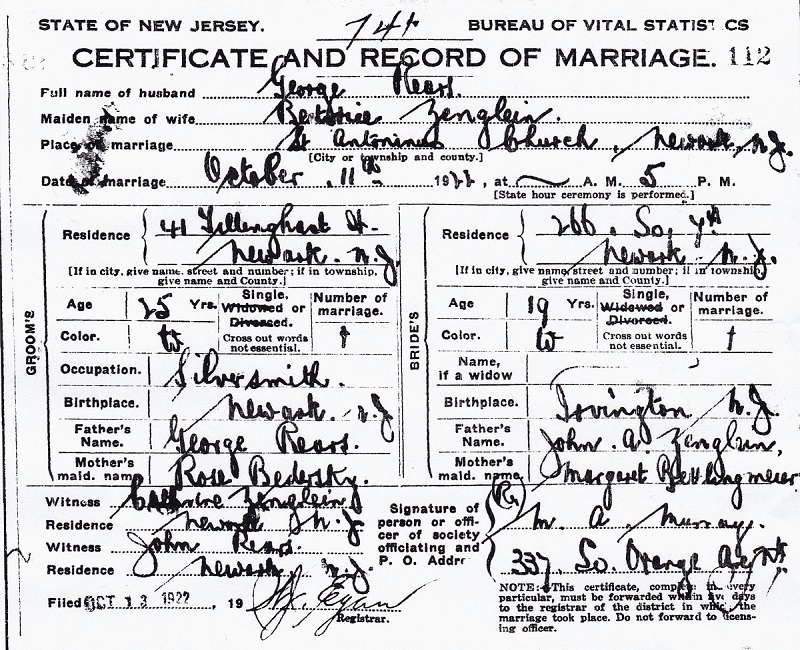 Beatrice Zenglein and George Rears Marriage Certificate