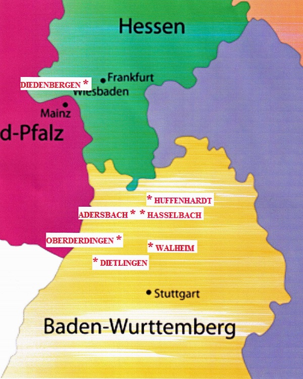Map of Hessen and Baden-Wurttemberg