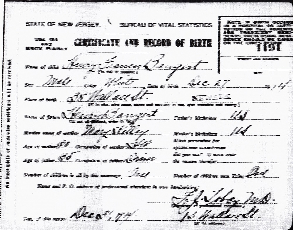 Harry Francis Bangert Birth Certificate