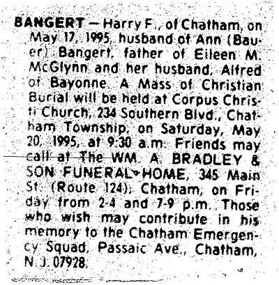 Harry F. Bangert Obituary