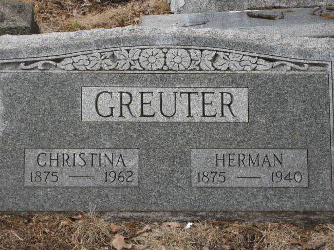 The Woodland Cemetery headstone of Herman and Christina Greuter