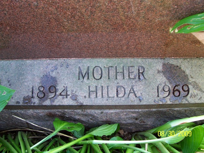 The Hollywood Memorial Park Cemetery headstone inscription of Hilda Greuter