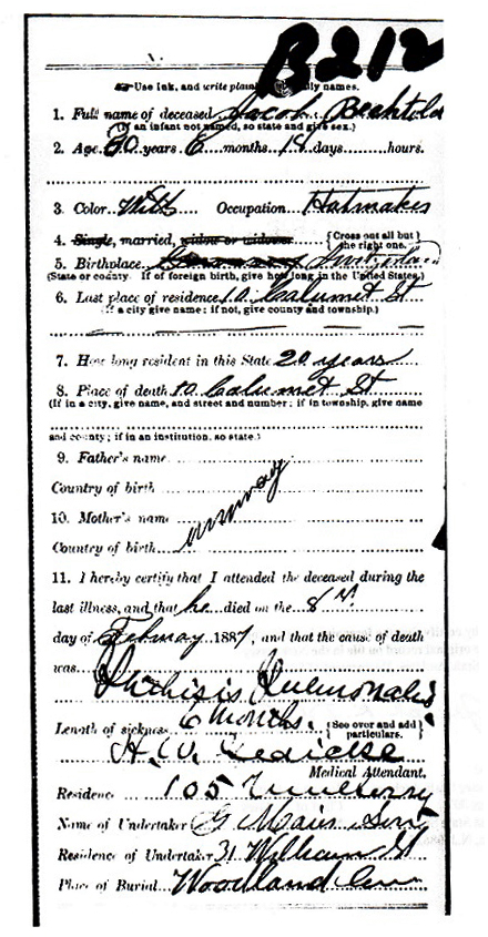Jacob Bechtold Death Certificate