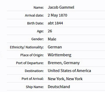 Jacob Grammel Immigration Record