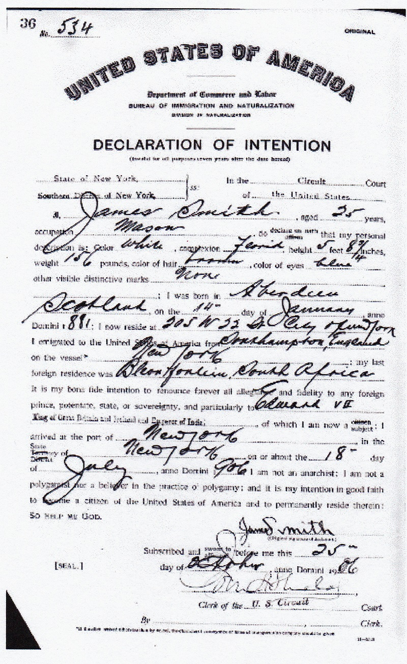 James Findlay Smith Naturalization Record
