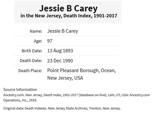 Death Index of Jessica A. Bechtold Carey