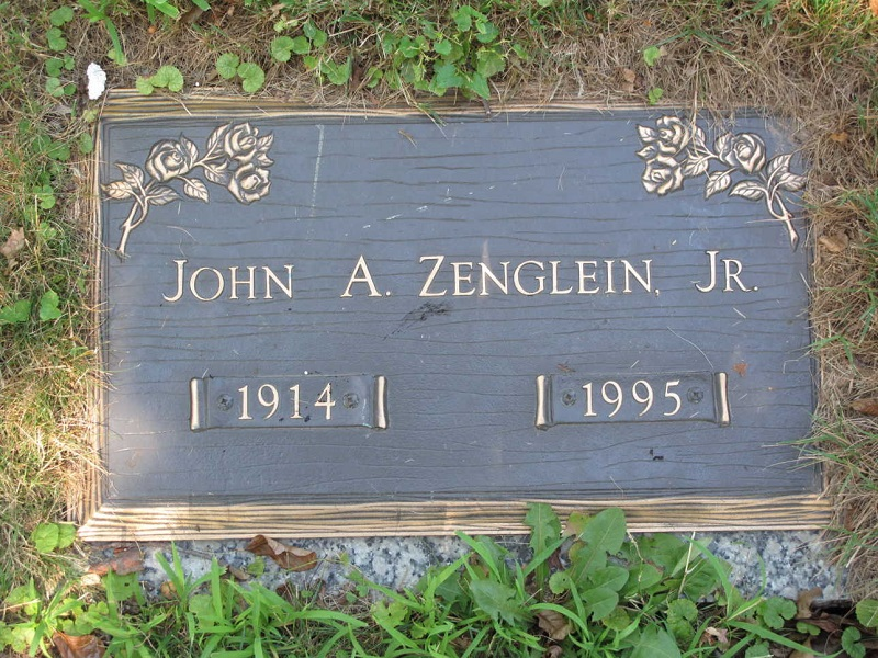The Hollywood Memorial Park Cemetery Grave Marker of John A. Zenglein, Jr.