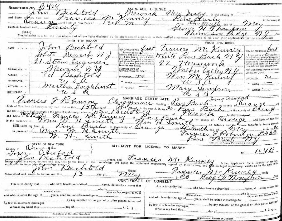 John Bechtold and Frances McKinney Marriage Record