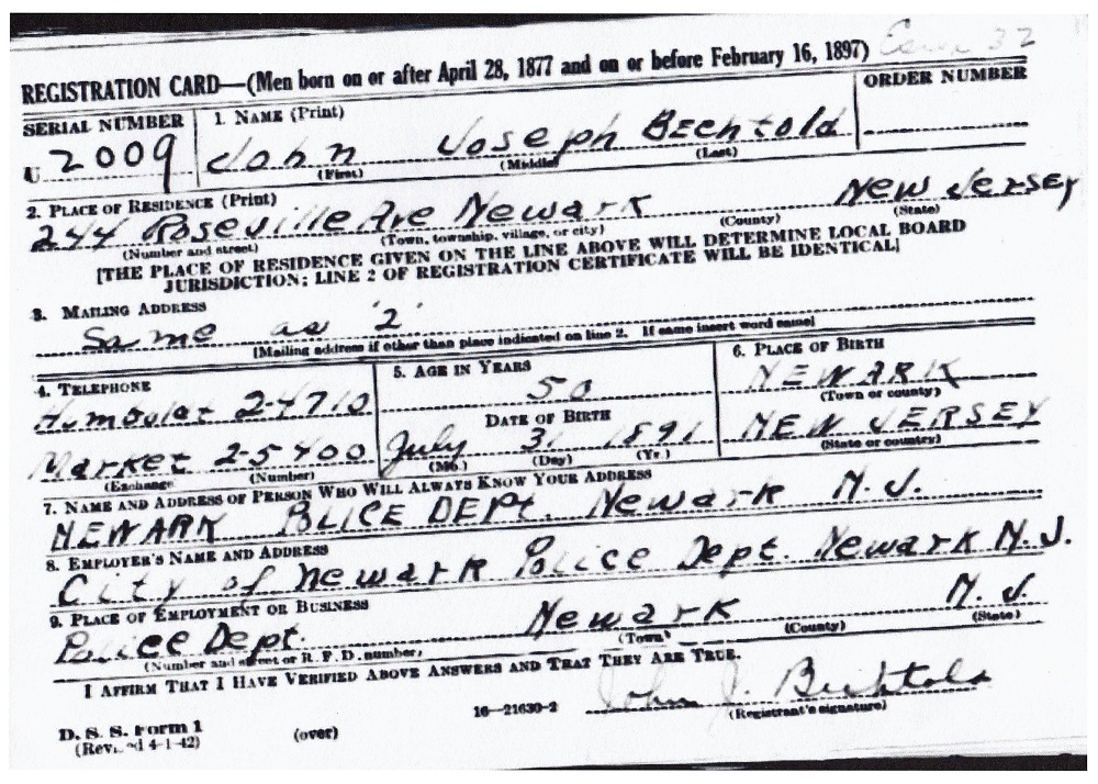 John J. Bechtold's World War II Draft Registration Card Part 1