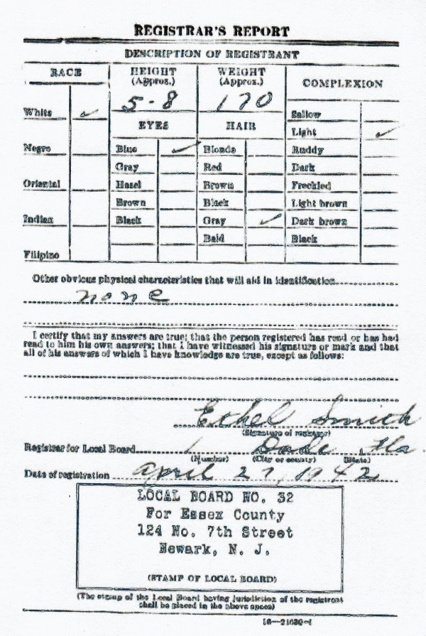 John J. Bechtold's World War II Draft Registration Card Part 2