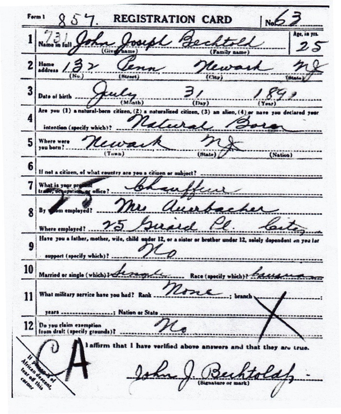 John J. Bechtold's World War I Draft Registration Card Part 1