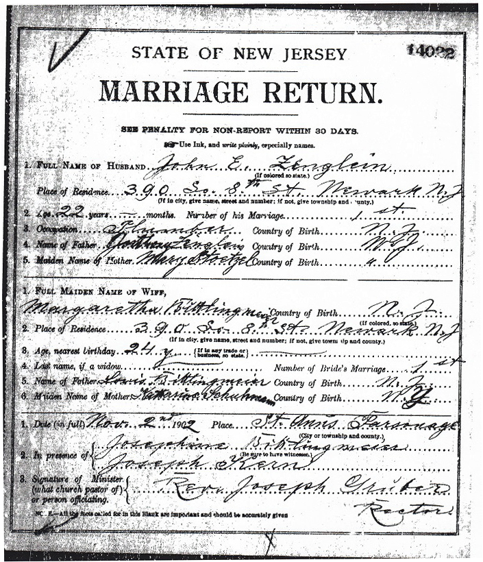 Margaret Bittlingmeier and John Zenglein Marriage Certificate