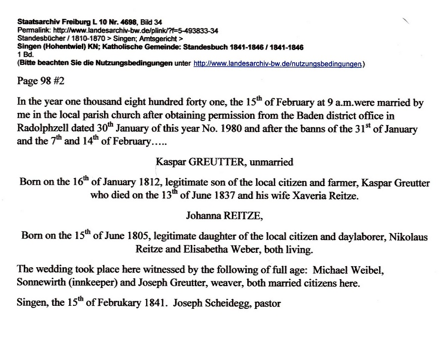 Kaspar Greutter and Johanna Reitze Marriage record 2