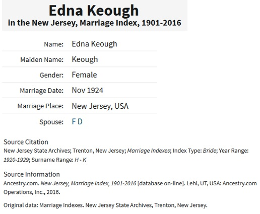 Fred Dumont and Edna Keough Marriage Index