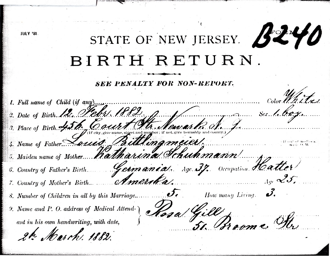 Louis Bittlingmeier Birth Certificate