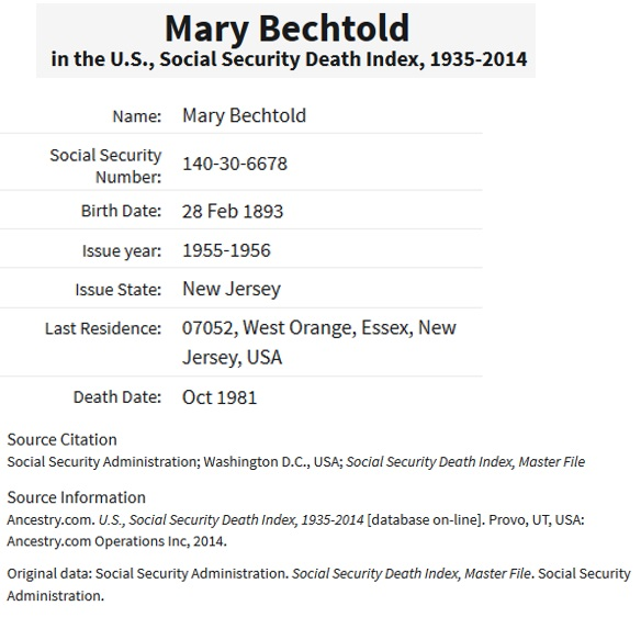 Mary O'Malley Bechtold Social Security Death Index