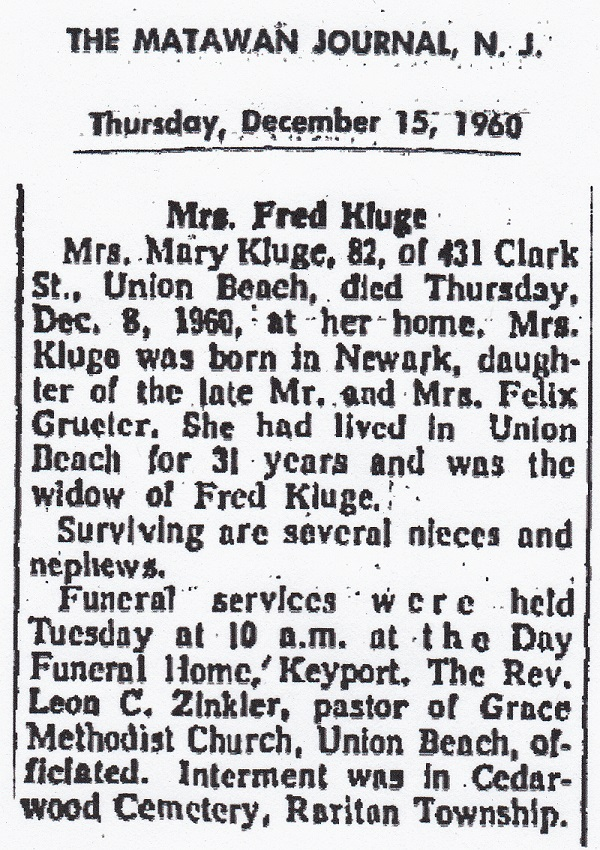 Mary Greuter Kluge Obituary