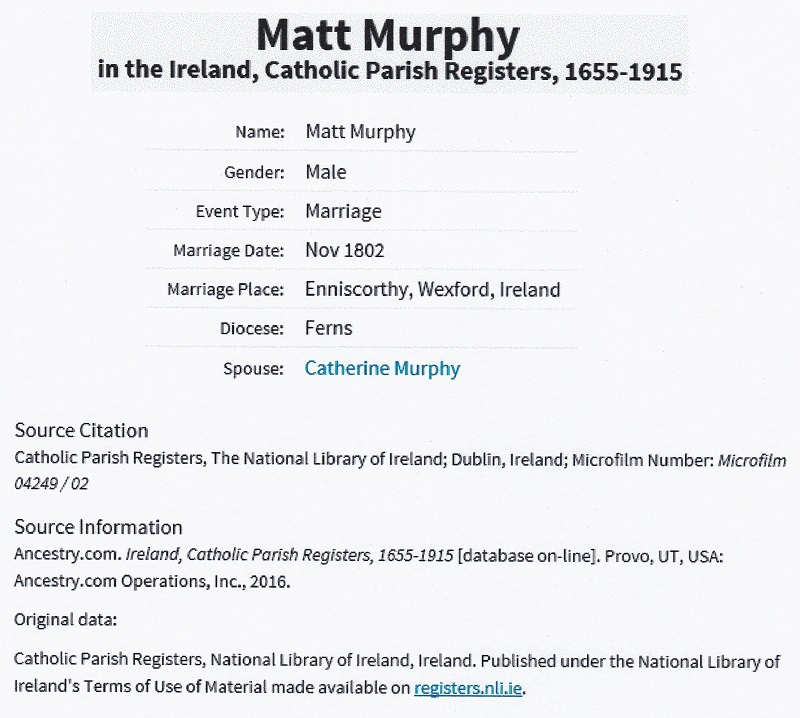 Matthew Murphy and Catherine Murphy Marriage Record