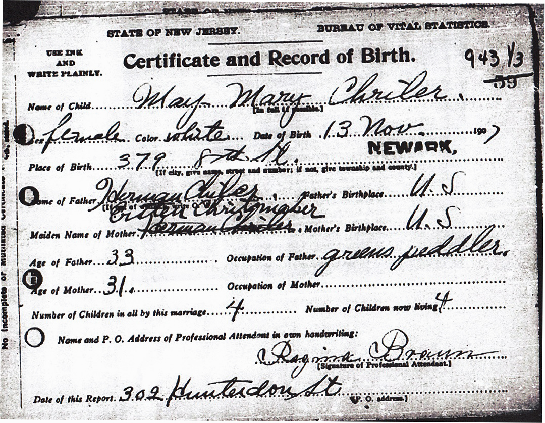 May Mary Greuter Birth Certificate