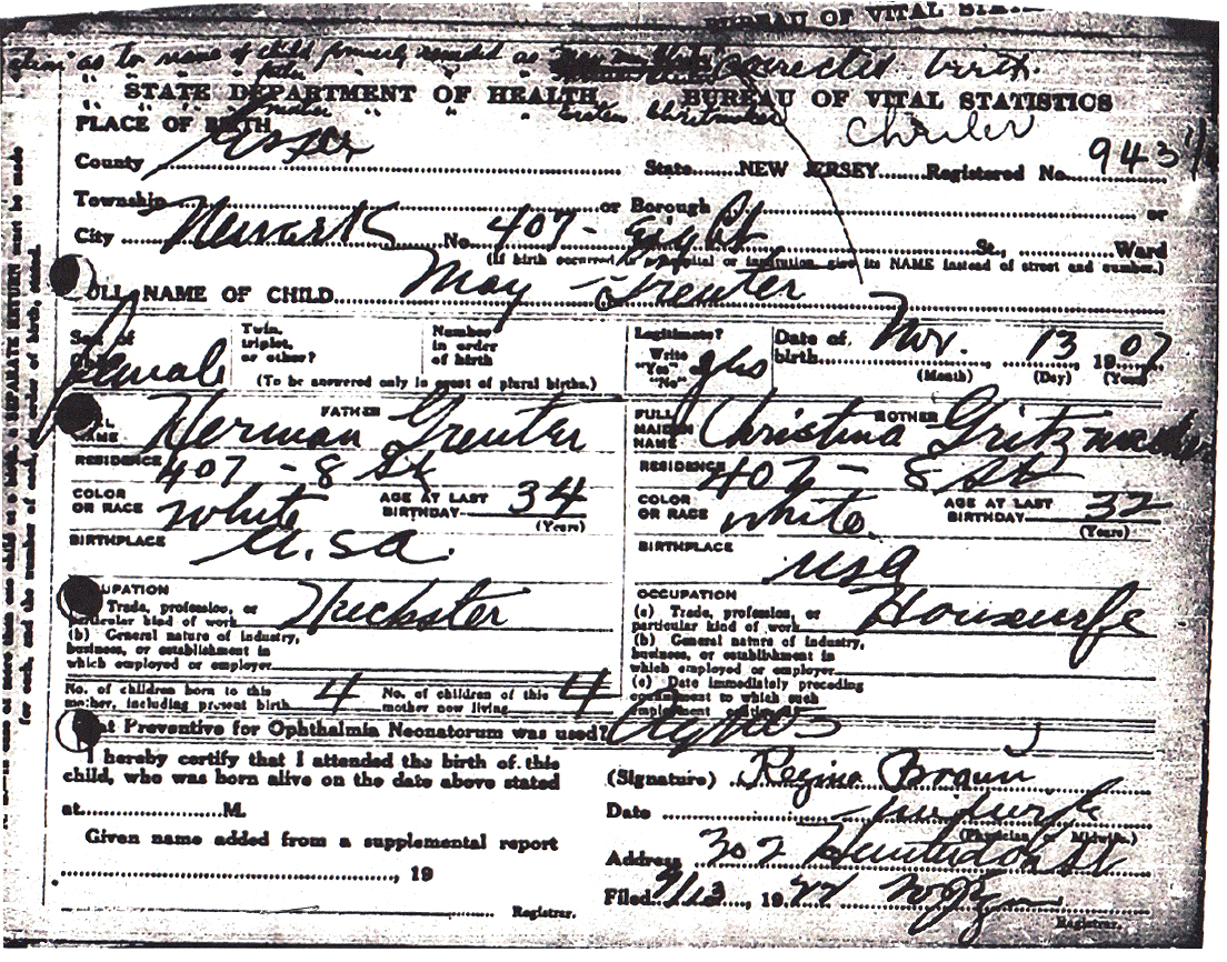 May Mary Greuter Birth Certificate Amendment