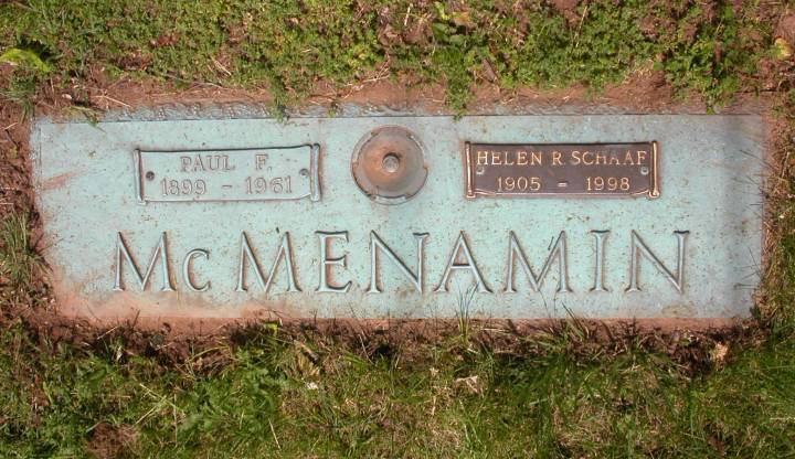 The Graceland Memorial Park Grave Marker of Paul McMenamin and his sister Helen Schaaf