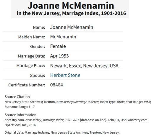 Joanne McMenamin and Herbert Stone Marriage Index