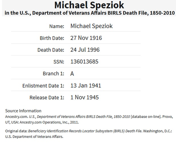 Michael Speziok's World War II Military Record