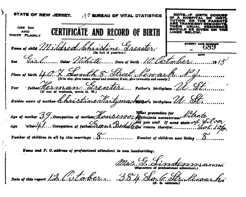 Mildred Christine Greuter Birth Certificate