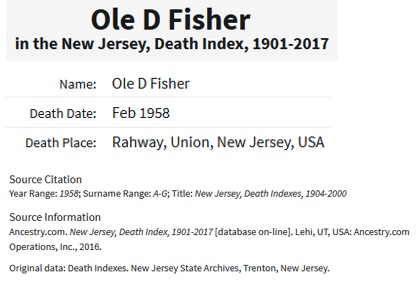 Ole D. Fisher Death Index